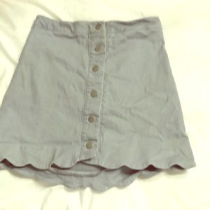 Blue button down mini skirt
